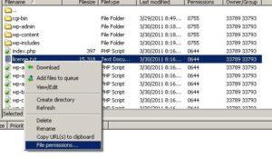 Change File Permissions in Filezilla